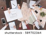 workers of real estate agency... | Shutterstock . vector #589702364
