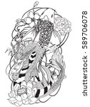 hand drawn outline koi fish... | Shutterstock .eps vector #589706078