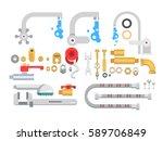 set plumbing parts | Shutterstock .eps vector #589706849