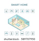 colorful smart home technology... | Shutterstock .eps vector #589707950