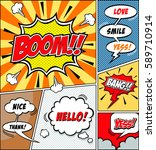 comic speech bubbles and comic... | Shutterstock .eps vector #589710914