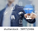 compliance concept with icons... | Shutterstock . vector #589715486