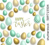 happy easter pink background... | Shutterstock .eps vector #589715504