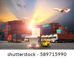 logistics and transportation of ... | Shutterstock . vector #589715990