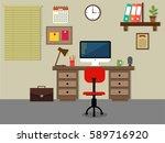 flat interior design of a work... | Shutterstock .eps vector #589716920