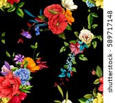 flowers. poppy  wild roses ... | Shutterstock .eps vector #589717148
