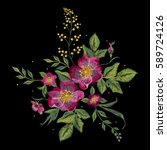 embroidery colorful floral... | Shutterstock .eps vector #589724126