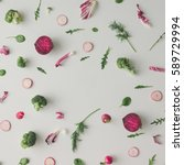 colorful vegetable pattern made ... | Shutterstock . vector #589729994