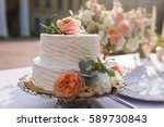 wedding decoration table in the ... | Shutterstock . vector #589730843