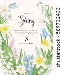 floral wreath with spring... | Shutterstock .eps vector #589732433