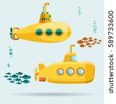 yellow submarine undersea with... | Shutterstock .eps vector #589733600
