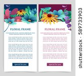 set flyers with floral decor.... | Shutterstock .eps vector #589733903