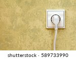 electrical plug connected into... | Shutterstock . vector #589733990