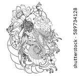 hand drawn dragon tattoo ... | Shutterstock .eps vector #589734128