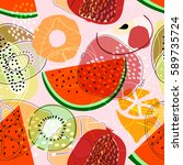 seamless pattern with fruits ... | Shutterstock . vector #589735724