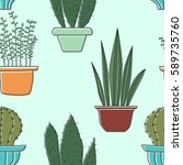 seamless pattern with plants.... | Shutterstock . vector #589735760
