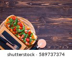 homemade fresh pizza with... | Shutterstock . vector #589737374
