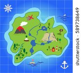 treasure island and pirate map  ... | Shutterstock .eps vector #589738649
