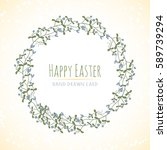 happy easter hand drawn vector... | Shutterstock .eps vector #589739294