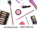 make up brush and cosmetics... | Shutterstock . vector #589739570