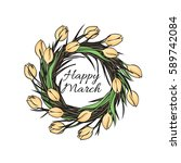 easter greeting card with a... | Shutterstock .eps vector #589742084