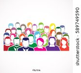colored crowd of anonymous... | Shutterstock .eps vector #589749590