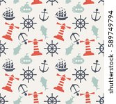 seamless sea pattern with... | Shutterstock .eps vector #589749794