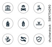 set of 9 simple warrant icons.... | Shutterstock . vector #589754090