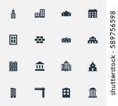 set of 16 simple architecture... | Shutterstock . vector #589756598