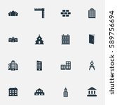 set of 16 simple construction... | Shutterstock . vector #589756694