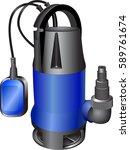 sewage blue pump. dirty water... | Shutterstock .eps vector #589761674