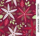 vector seamless festive floral... | Shutterstock .eps vector #589778984