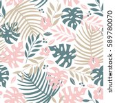 Vector Seamless Tropical Leave...