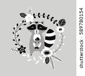 vector raccoon illustration... | Shutterstock .eps vector #589780154