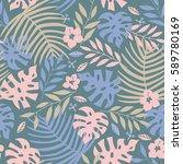 vector seamless tropical leaves ... | Shutterstock .eps vector #589780169