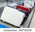 group of suitcases on conveyor... | Shutterstock . vector #589782458