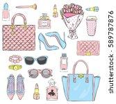 set of stylish women's...   Shutterstock .eps vector #589787876