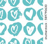 seamless pattern with hearts.... | Shutterstock .eps vector #589790630