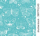 seamless pattern with butterfly.... | Shutterstock .eps vector #589791143