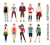 young people in sport clothes... | Shutterstock .eps vector #589793339