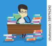 asian annoyed student studying... | Shutterstock .eps vector #589796240
