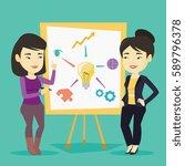 young asian student explaining... | Shutterstock .eps vector #589796378