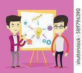 young asian student explaining... | Shutterstock .eps vector #589796390
