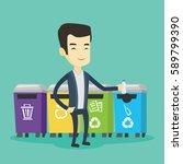 asian man throwing away garbage.... | Shutterstock .eps vector #589799390