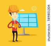 asian worker of solar power... | Shutterstock .eps vector #589801304