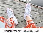 white trainers   summer... | Shutterstock . vector #589802660