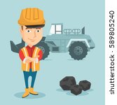 caucasian smiling male miner in ... | Shutterstock .eps vector #589805240
