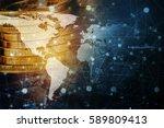 double exposure global world... | Shutterstock . vector #589809413