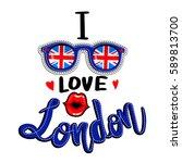 england flag on glasses.... | Shutterstock .eps vector #589813700