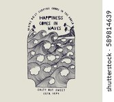 happiness comes in waves  ... | Shutterstock .eps vector #589814639